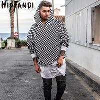 HIPFANDI High Street Fashion Casual Black White Sweatshirts Justin Bieber Style Checkerboard Lattice Men Brand Pullover