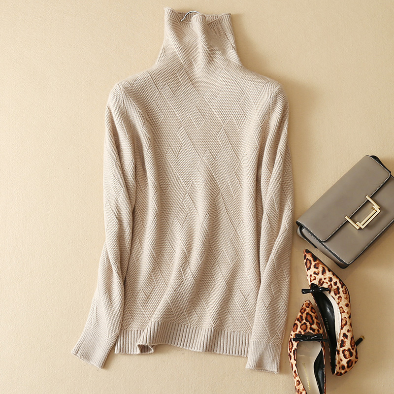 2017 new winter sweater ladies pure cashmere pullover women cross pattern female high collar thick sweater