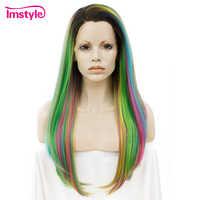Imstyle Straight Rainbow Green Wigs Lace Front Wigs For Women Long Hair High Temperature Fiber Synthetic Lace Wig Cosplay Wig