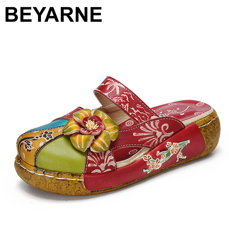 BEYARNE summer sandals genuine leather shoes women thick heel platform sandals for women slippers ethnic sandals