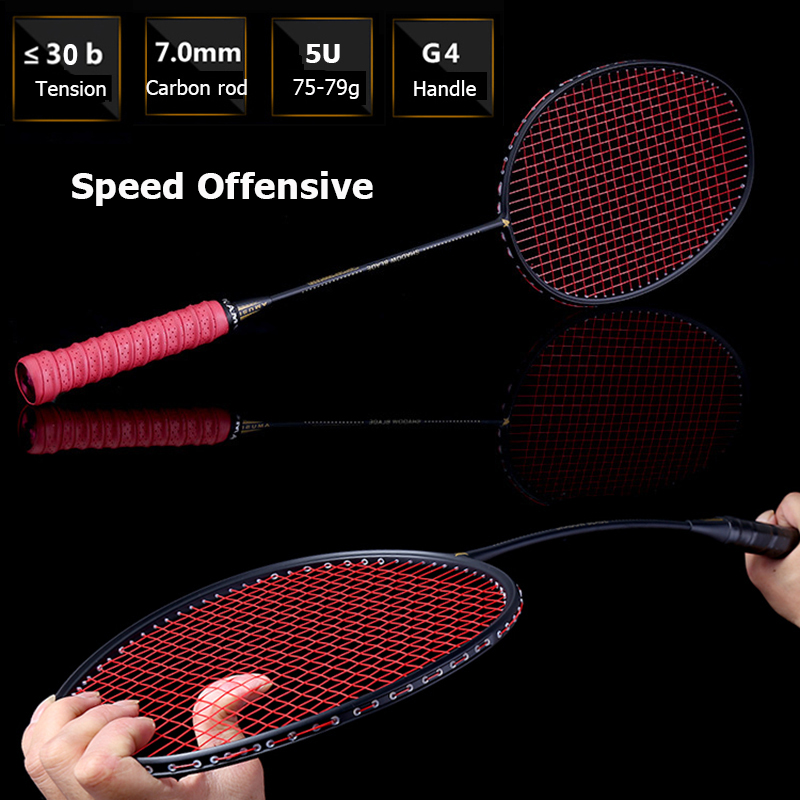 LOKI 75g Speed Offensive Carbon Badminton Racket High Tensions Smash Badminton Racquet 22-30 LBS with String Bag