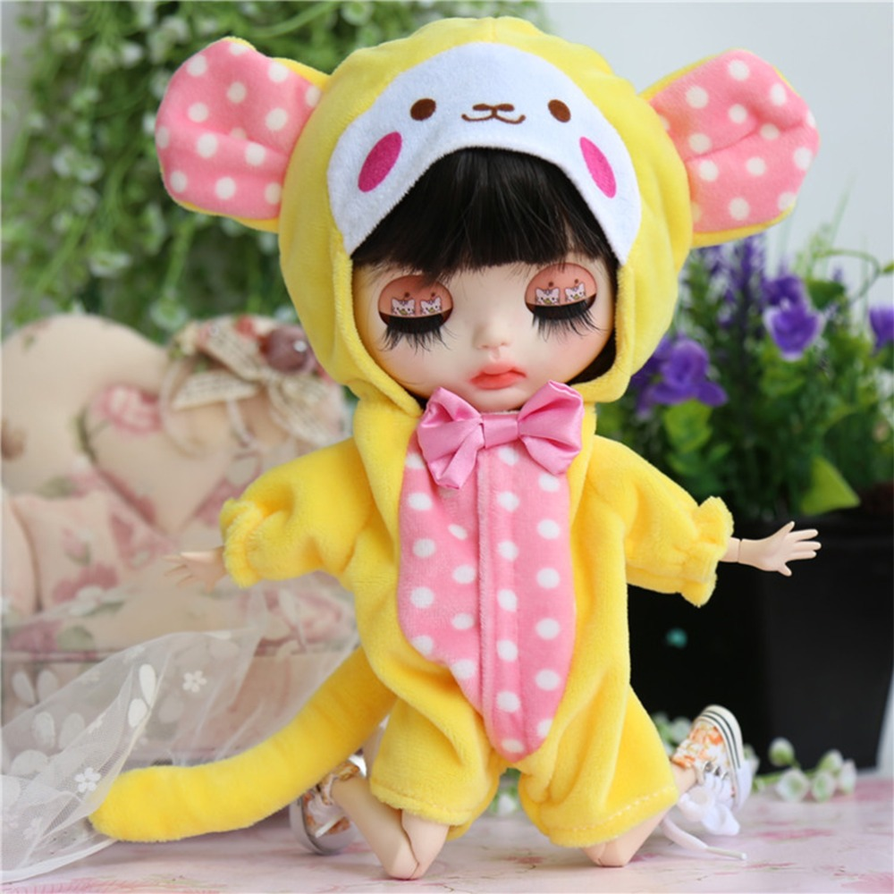 Cute Monkey Hooded Suit for Blyth Doll 1/6 Dolll Clothes Doll Accessories for Blyth Doll Clothing Accessory pink wool coat doll clothes with belt for 18 american girl doll