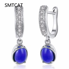 SMTCAT Luxury 585 Color Gold Drop Earrings with Blue Stones Cubic Zircon Earrings for Women Dangle Earrings Jewelry Oorbellen