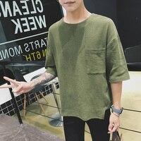 2018 autumn men high quality tshirt round neck sleeve bussiness t shirt male military cotton hemp man crossfit clothing