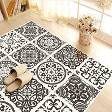 4Pcs/Set 2018 New black and white style floor stickers bathroom bathroom bedroom living room home decoration