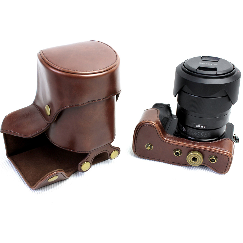 Black/Coffee/Brown PU Leather Camera Case For Sony Alpha A6500 ILCE-6500 16-70/18-55mm Lens With Storage Bag Bottom Open Case ...