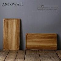 ANTOWALL Acacia wood tea tray wooden storage tray tea set bottom plate household restaurant with rectangular tray wood