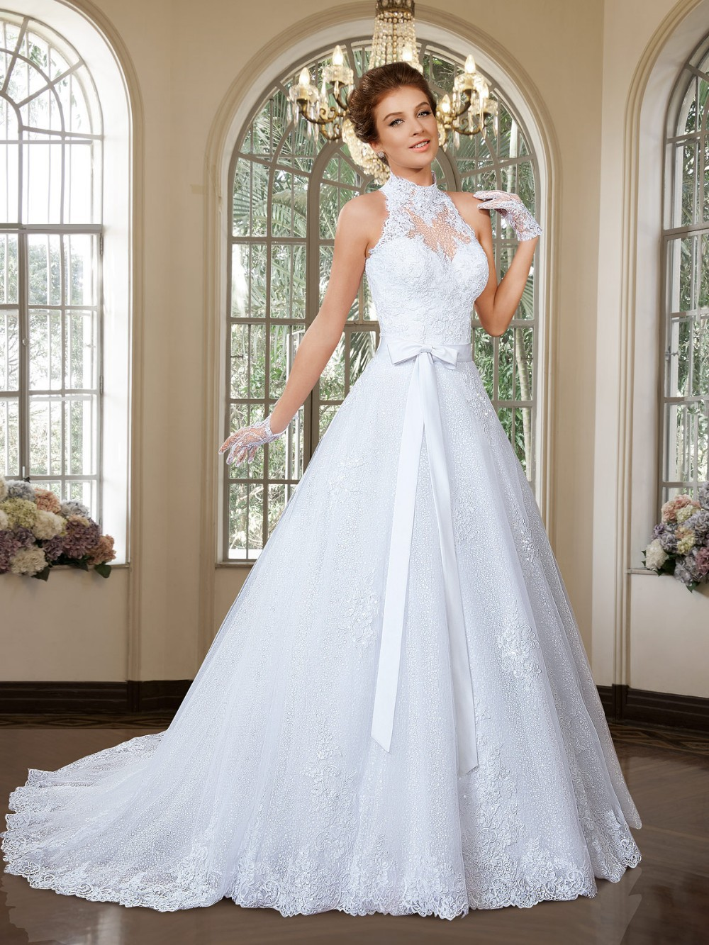 Vintage High Neck Beading Appliques Court Train Wedding Dress high neck wedding dress