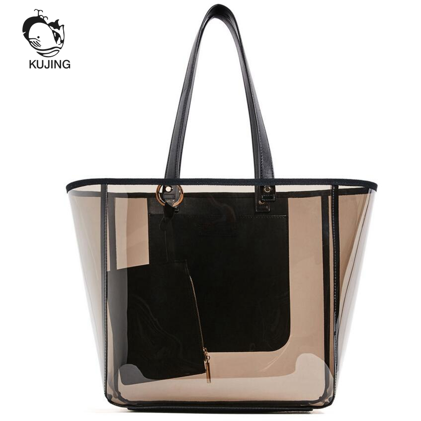 KUJING Brand Fashion Handbag Transparent Women Hand Shopping Bags Cheap High Quality Women Shoulder Bag Travel Crystal Beach Bag