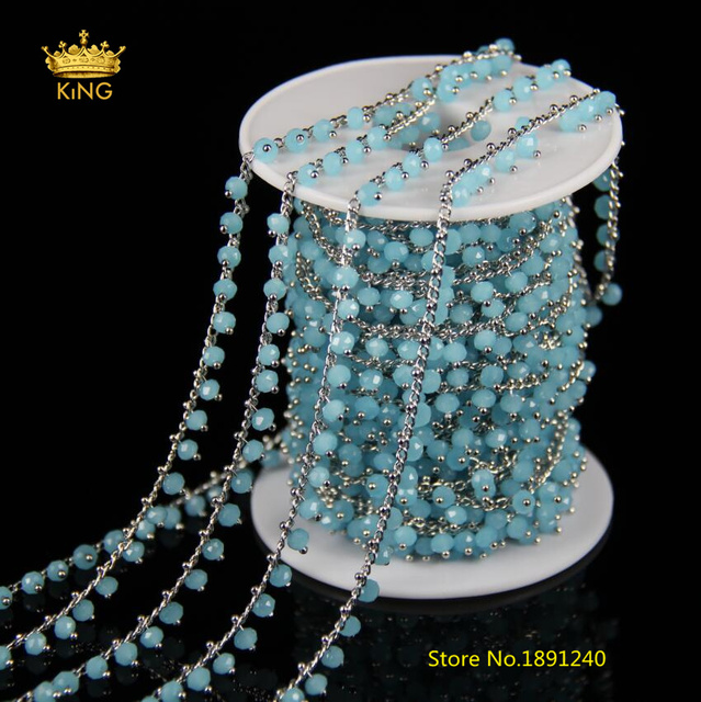 5meter 3x4mm Bulk Sky Blue Glass Wire Wrapped Faceted Rondelle Glass ...