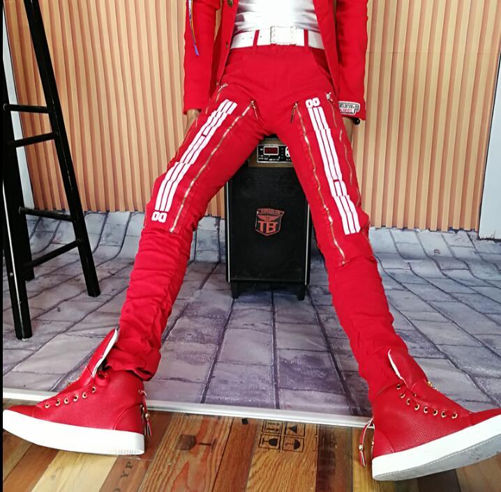 Осенне-зимняя красная личности модные шаровары мужские Брюки Хомбре Брюки-Карго Облегающие штаны для мужчин мужские панталоны Stage