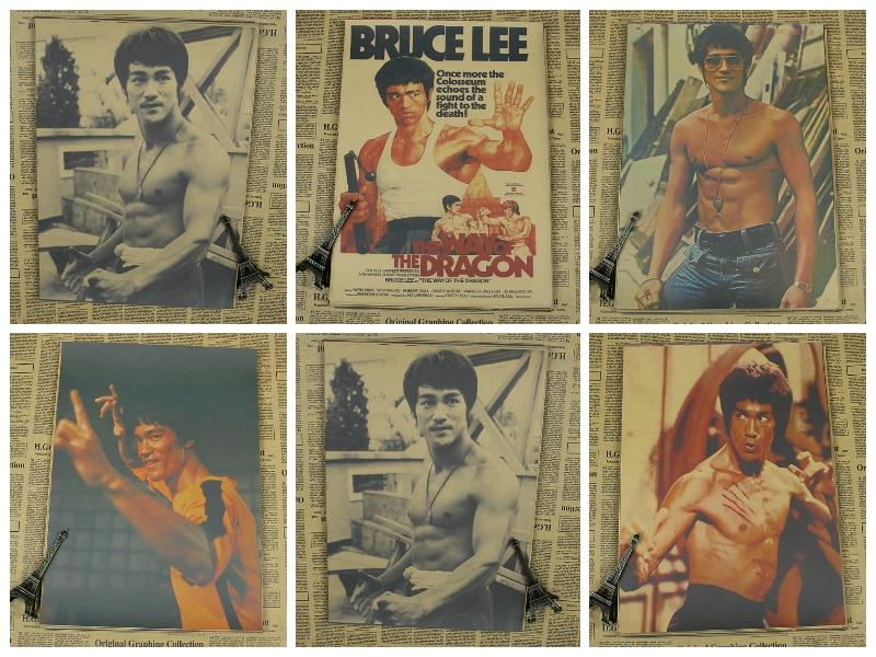 Брюс Ли плакат крафт-бумага фильм живопись в спальню/крафт-плакат/декоративная настенная наклейка картины ретро-плакат