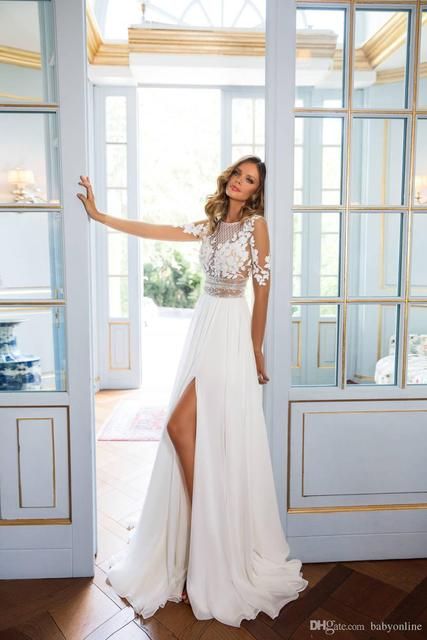 Stunning 2018 Bohemian Wedding Dresses Sheer Long Sleeve Lace Vestidos De Novia Side Split Summer