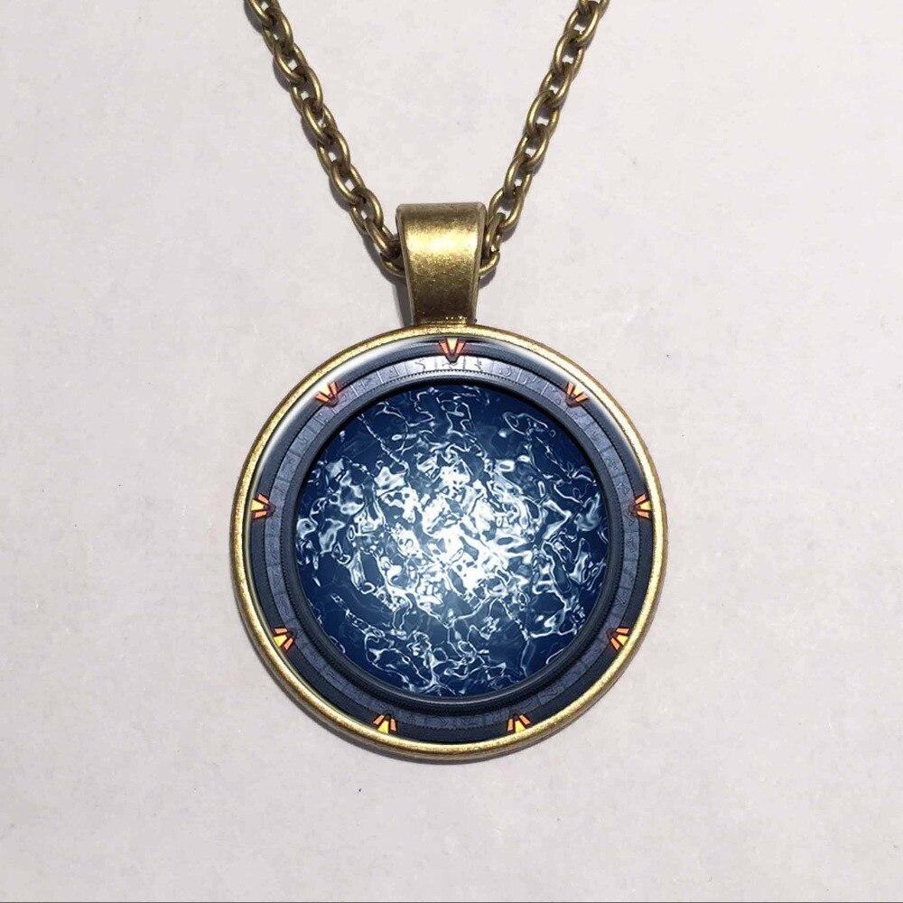 1pcs lot Stargate Portal Atlantis Logo Pendant Necklace Bronze and sliver Vintage Chain Choker Statement Necklace