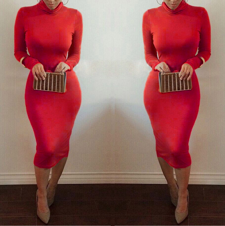 ab69f743318 Women Sexy Club Dress 2018 Turtleneck Long Sleeve Winter Dress Pencil Dress  Slim Fit Hip Bandage Bodycon Dress Vestidos Clubwear-in Dresses from Women s  ...