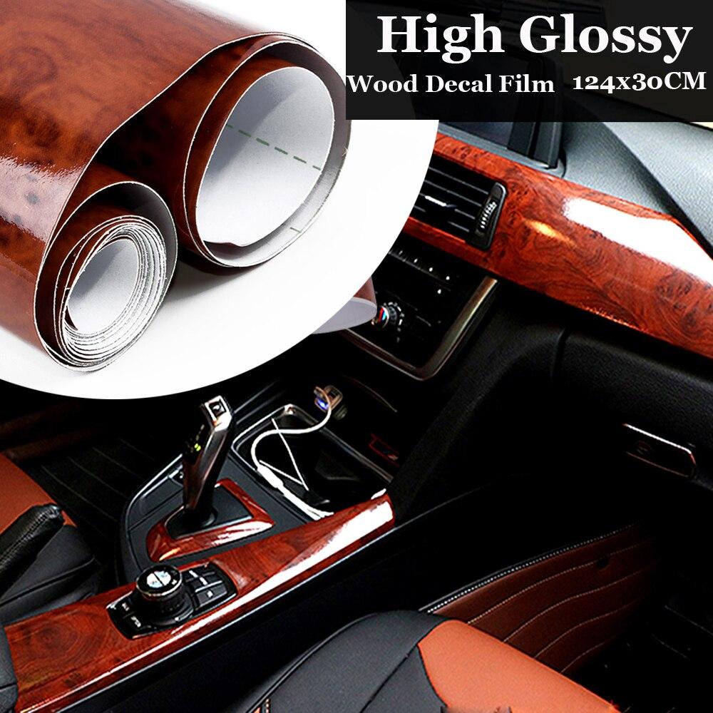 124cm Decal Roll DIY Interior Wood Grain Film Wrap High Glossy Car Vinyl Sticker