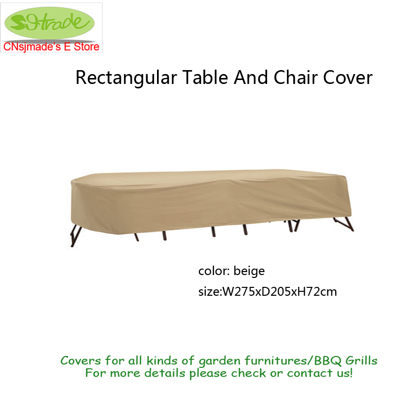 Suitable Oval Or Rectangular Table And High Back Chair Cover Beige waterproofed fabric 275X205X72cm , Beige color, Free shipping