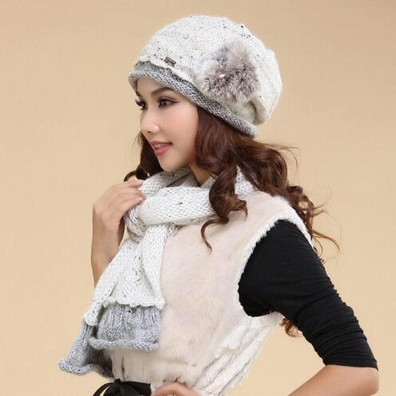 Femmes chapeau écharpe ensembles Double couche hiver épaissir laine tricoté chapeaux décontracté à la main tissé laine bonnets casquettes TM-1309