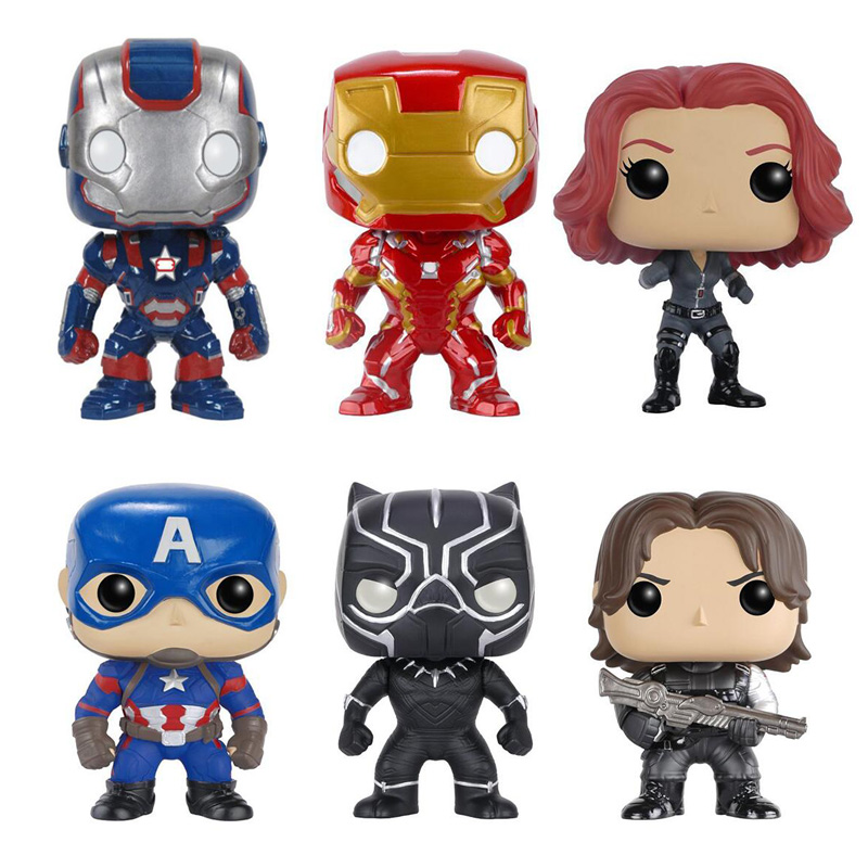 Marvels Avengers 10cm Super Hero Iron Man Figure Toys Captain America 3 Civil War Black Widow Panther Winter Soldier Model statue avengers captain america 3 civil war iron man tony stark 1 2 bust mk33 half length photo or portrait with led light w216