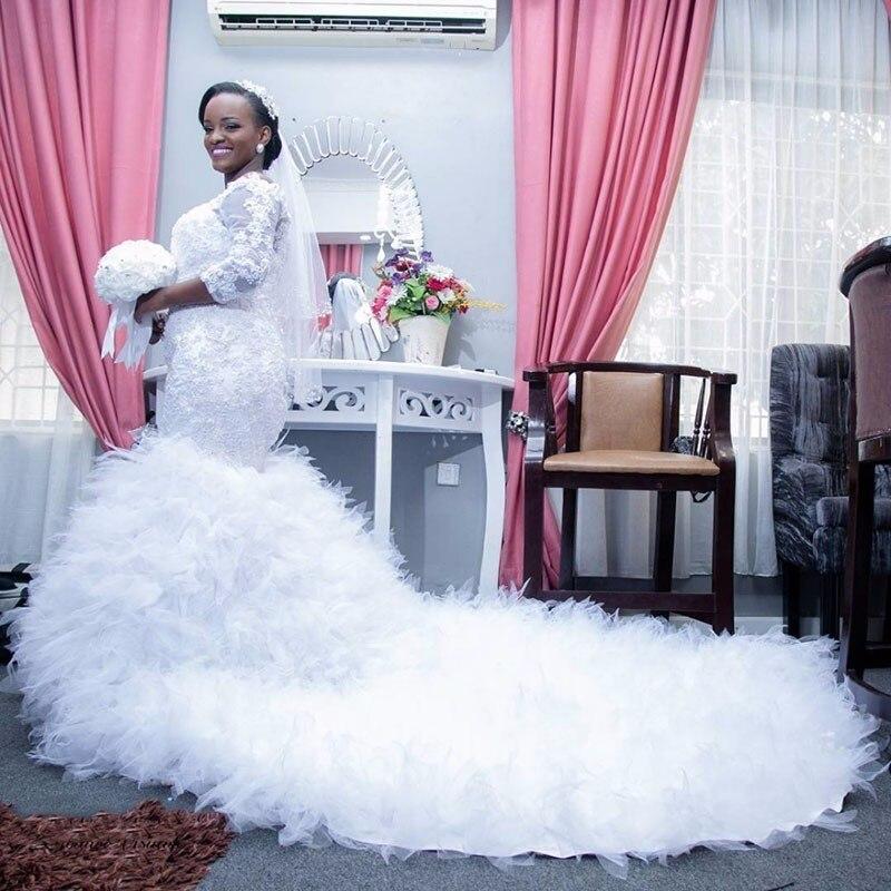 Mermaid Sexy Boat Neck Lace Gown Vestido De Noiva African Wedding Party Dress Plus Size