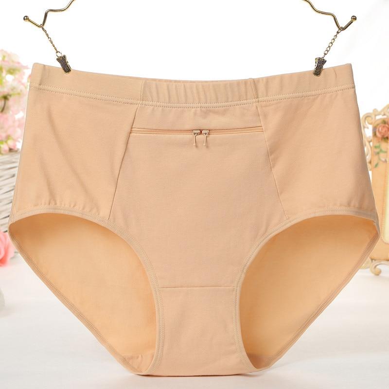 Women Panties 2017 Female Big Size Underewar With Zipper Pocket Ladies Cotton Breathable Briefs Women Soild Comfortable Lingerie
