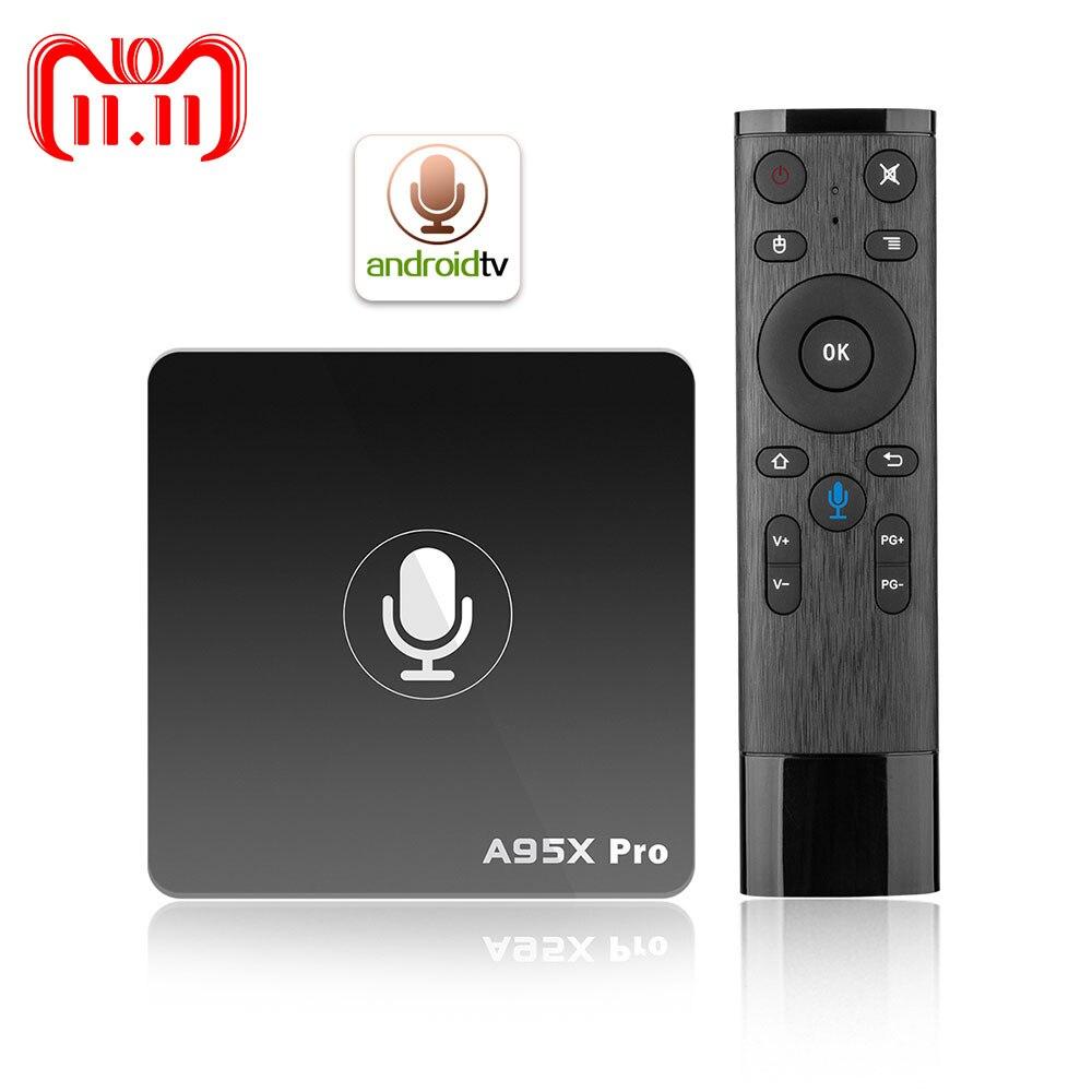 Google TV Box A95X Pro 2G 16G Smart Android 7,1 caja de TV Control de voz Amlogic S905W WiFi LAN reproductor de medios PK X96mini X96 mini