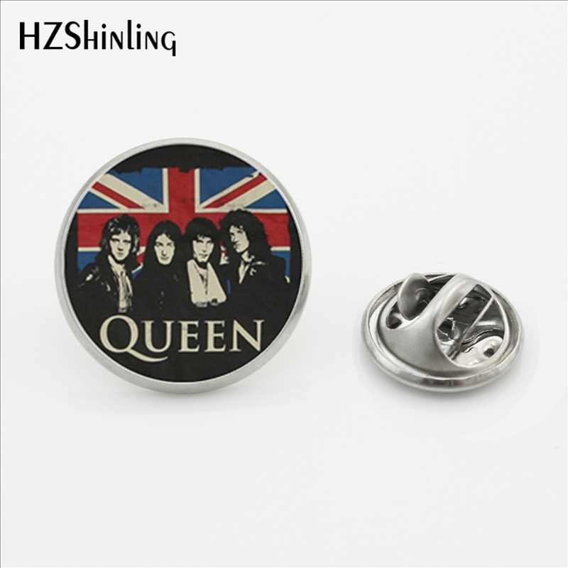 2017 Desain Baru Band Rock Queen Kerah Pin Bros Fashion Pin Queen Band Musisi Stainless Steel Perak Kerah Pin
