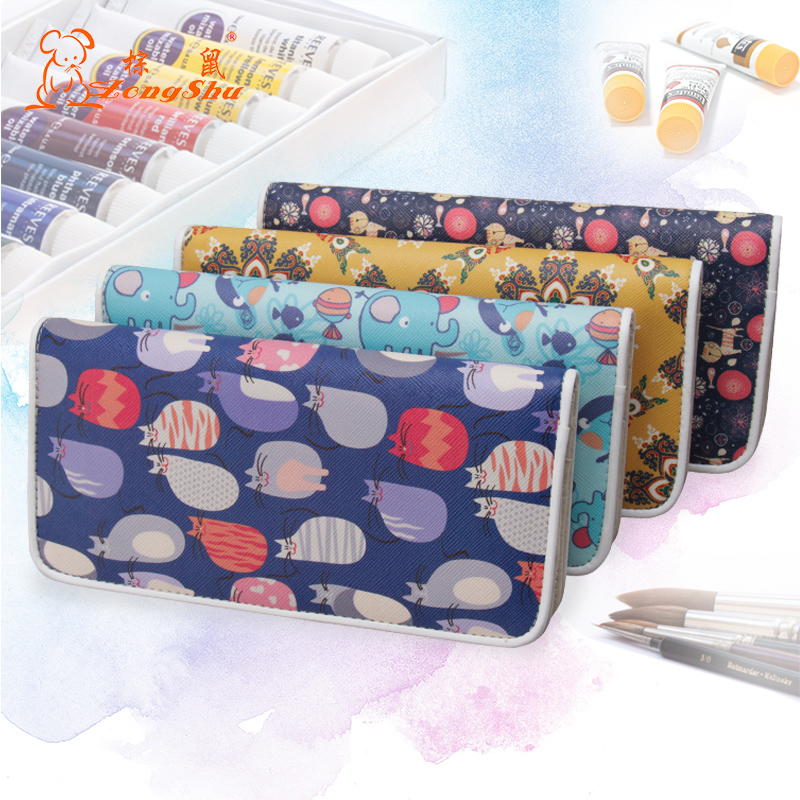 Women's Long Style Cartoon Cat Elephant Wallet Scattered pattern buckle Purse Girls Wrapped edge Card Holder sketching bag