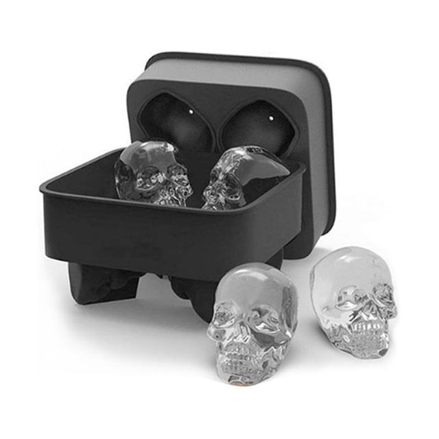 4 отверстия 3D кости черепа льда формы силиконовые лоток для льда торта чайник виски вина Кухня конфеты Барные аксессуары