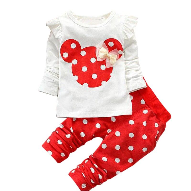 Новинка 2017 года 2 предмета футболка + точка Леггинсы для женщин Брюки для девочек комплекты для малышей одежда в стиле принцессы для девочек ...