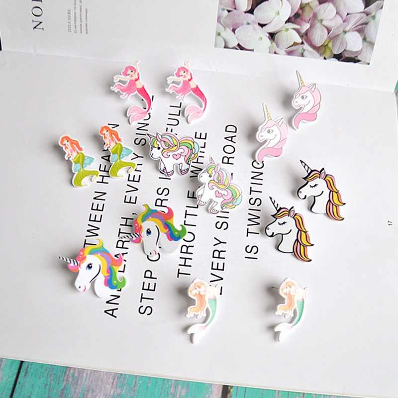 Personality Cute Mermaid Colorful Unicorn Earrings Woman Girls Lovely Animal Unicorn Stud Earrings Lady Jewelry