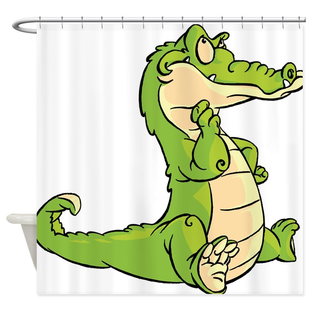 Thinking Crocodile - Decorative Fabric Shower Curtain (69x70)