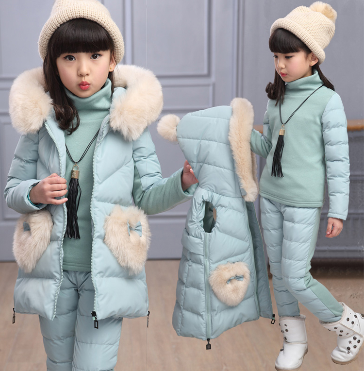 Kids Long Parkas For Girls Fur Hooded Coat Winter Warm Down Set Children Outerwear+vest+pants Infants Thick Overcoat 4 6 9 10 12 2016 new baby girls boys winter coats jacket children down outerwear warm thick outdoor kids fur collar snow proof coat parkas