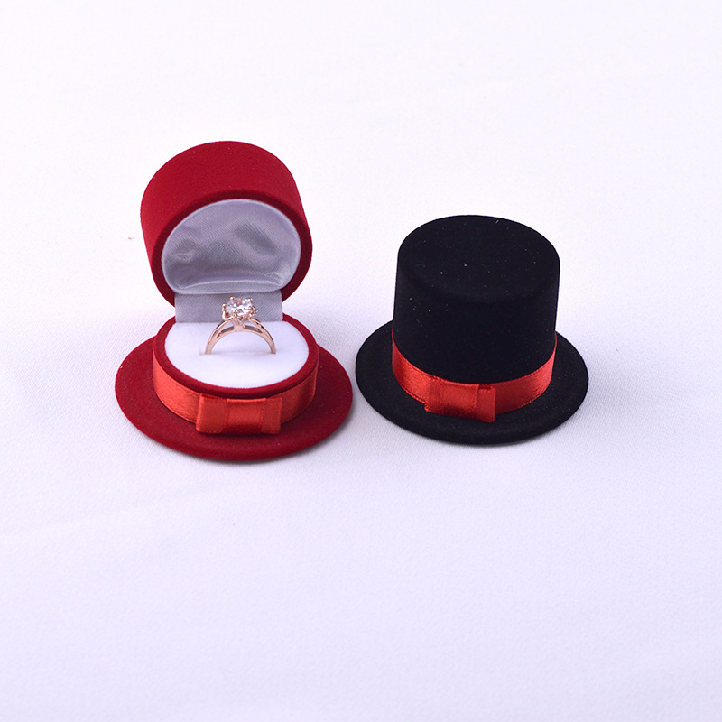 New Cute Straw Hat Velvet Rings Jewelry Box Earring Ear Stud Case Gift Container Carrying Cases For Rings Display Box