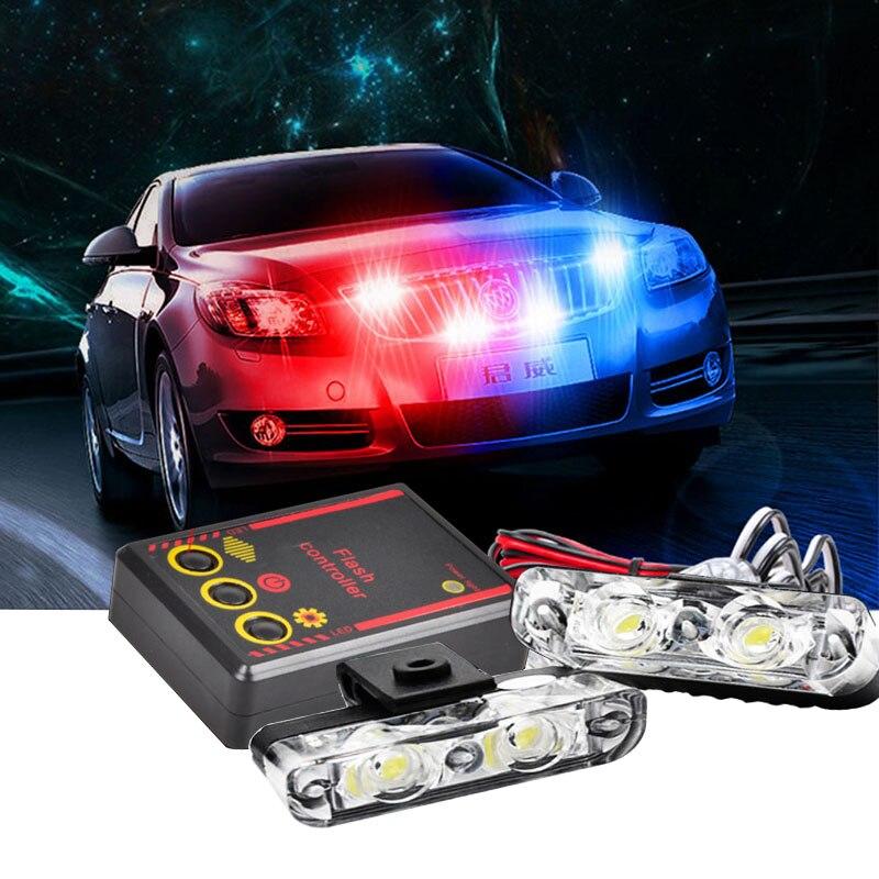 High Bright 12V 2X2 4LED Red/Blue White Car Police Strobe Flash Light Emergency Warning 3 Flashing Fog Lights Car Styling