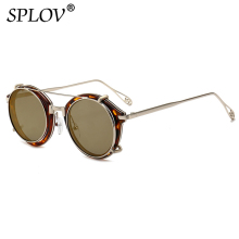 6708bca5de38e Rétro Steampunk Clip rond sur lunettes de soleil hommes femmes Double  couche lentille amovible nuances détachables lentille clai.