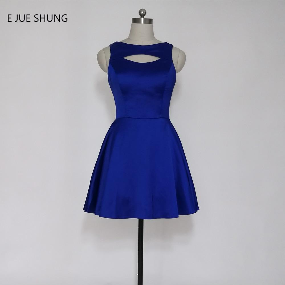 E JUE SHUNG Kuninglik sinine satiin Lühike Prom Dresses Kühvel A-line lühike kokteilipidu kleidid vestido de festa curto