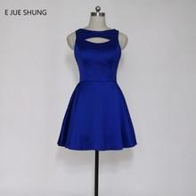 E JUE SHUNG Royal Blue Satin Short Prom Dresses Scoop A-line Short Cocktail Party Dresses vestido de festa curto