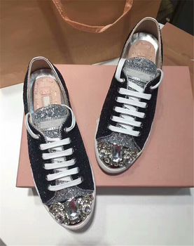 Fashoin Mixed Color Crystal Street Women's Lace Up Sneaker Glitter Round Toe Loafer Casual Shoes Costume Footwear tenis feminino