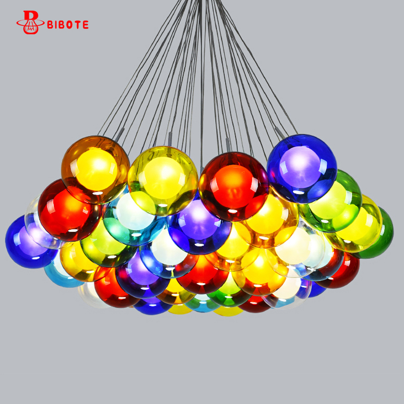 Modern Led Multicolor Finish Glass Ilde Max Pendant Chandelier Lamp Suspension Bedroom Living Dining Room G4 Chandelier Fixture