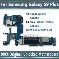 100% Original Unlock Motherboard For Samsung Galaxy S9 PLUS G965F G960F Install AOS Logic Board With Chip 6GB RAM 64GB ROM