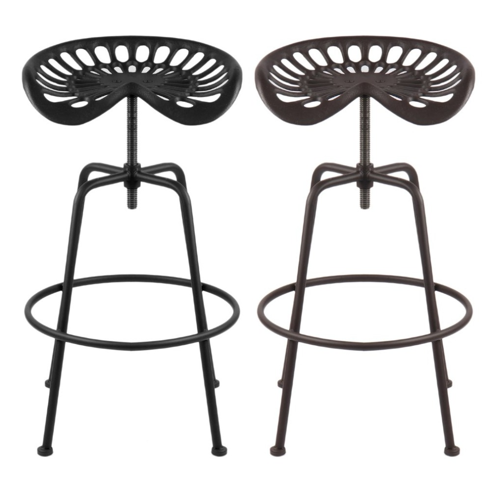 2PCS Copper Durable Height Adjustable Industrial Barstool Vintage Style Tractor Seat Bar Stool Universal Cast Iron Swivel Chair topower vintage bar stool swivel solid wood seat iron retro industrial height adjustable bicycle wheel design bar chair seat