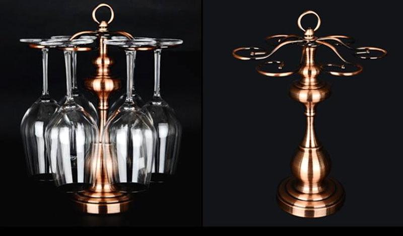 Metal Wine Glass Holder: Metal Wine Glasses Rack 6pc Goblet Holder Stand Vintage