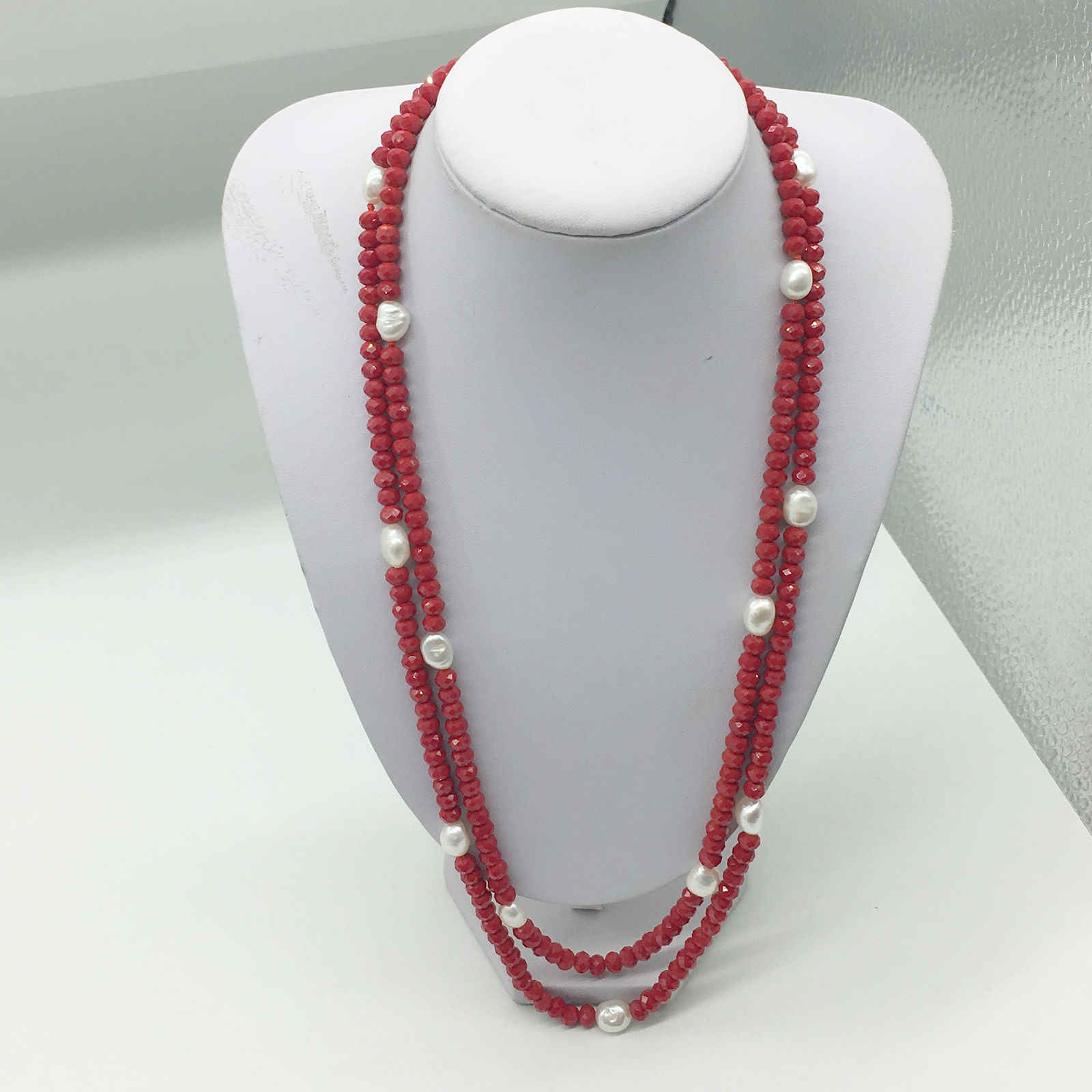 LJHMYStrand Red Crystal Beaded White Freshwater Pearl Long Wrap NecklaceWrap Necklaces Women Fashion Jewelry