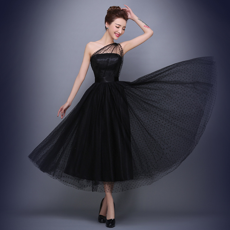Ball Gown Tulle Dots One shoulder Tea length Prom Dresses Black Plus ...