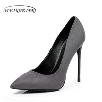 Women Suede High Heels Pumps 12cm Sexy Lady Single Shoes Black Blue US6 Party Shallow Mouth