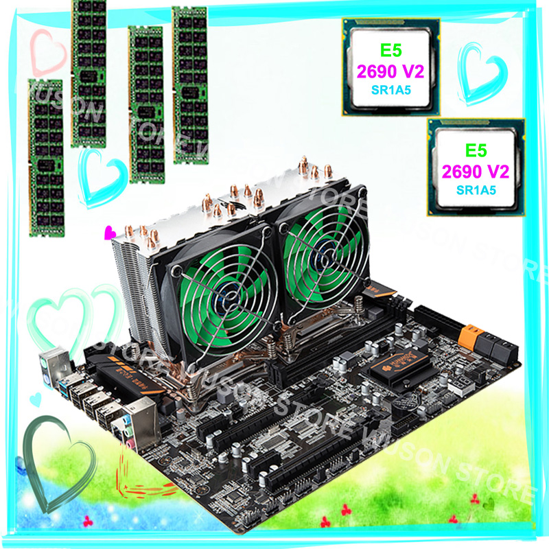 Buy best computer set HUANAN ZHI dual CPU X79 motherboard bundle RAM 32G RECC dual CPU Intel Xeon E5 <font><b>2690</b></font> <font><b>V2</b></font> 3.0GHz with coolers image