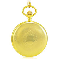 Gold Antique Skeleton Mechanical Hand Wind Pocket Fob Watches Clamshell Luxury Business Mens Pocket Watch Pendant Necklace Gift