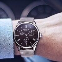 Neue Ankunft Luxus Parnis männer Mechanische Uhren Power Reserve ST Edelstahl Automatische Uhr Männer 50 mt Wasserdicht Verkauf-in Mechanische Uhren aus Uhren bei