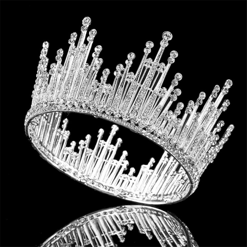 Luxury Rhinestone Round Wedding Queen King Crown For Bridal Tiaras And Crowns Bride Prom Diadem Wedding Hair Jewelry Accessories 03 red gold bride wedding hair tiaras ancient chinese empress hat bride hair piece